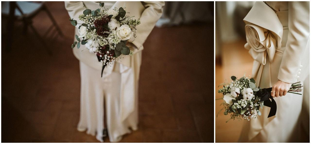 Detalles del ramo de la novia y el vestido de la novia de Castellar Granados