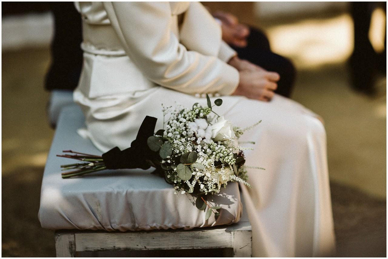 Detalle del ramo de la novia en Casa Bucarelli