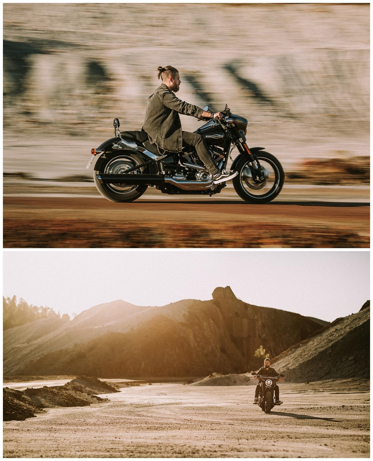 Atardecer y Harley Davidson