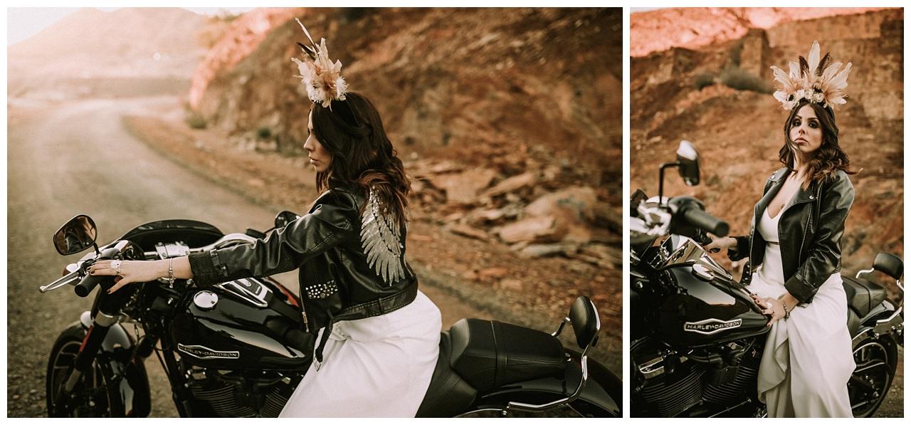 Novia y Harley Davidson